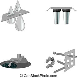 Purification, water, filter, filtration .Water filtration system set collection icons in monochrome style vector symbol stock illustration web.