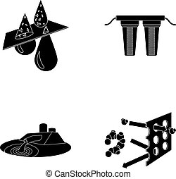 Purification, water, filter, filtration .Water filtration system set collection icons in black style vector symbol stock illustration web.