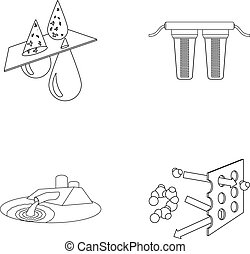 Purification, water, filter, filtration .Water filtration system set collection icons in outline style vector symbol stock illustration .