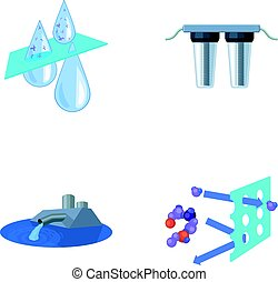 Purification, water, filter, filtration .Water filtration system set collection icons in cartoon style vector symbol stock illustration web.