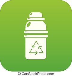 Purified water container icon green vector - Purified water...