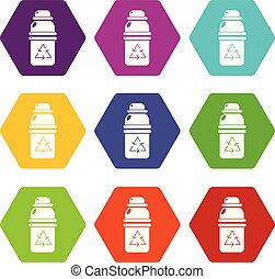 Purified water container icons set 9 vector - Purified water...