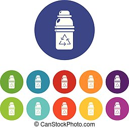 Purified water container icons set vector color - Purified...