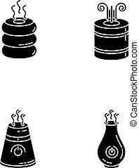 purifiers, glyph, silhouette, humidifiers, feuchtigkeit, satz, abbildung, vektor, haushaltsgerã¤te, steuerung, gedreht, räumlichkeiten, freigestellt, klima, space., heiligenbilder, regulators., schwarz, luft, weißes, symbols., haushalt