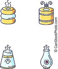 purifiers, rotes , set., rgb, humidifiers, feuchtigkeit, vektor, haushaltsgerã¤te, steuerung, gedreht, räumlichkeiten, freigestellt, klima, gelber , heiligenbilder, blaues, regulators., farbe, luft, illustrationen, haushalt