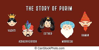 purim, año, english., bandera, nuevo, characters., feliz, ...