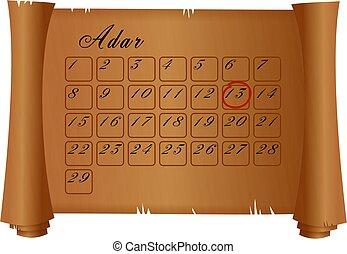 purim, adar, calendrier