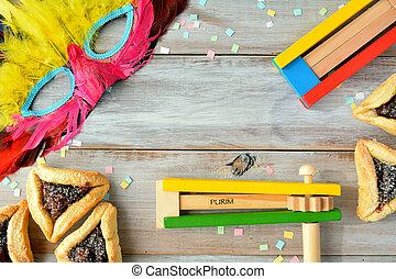 purim, alimento, objetos, feriado, judío, colocar, plano