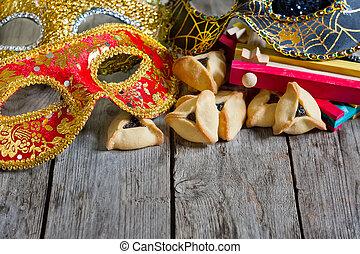 Purim background - Hamantaschen cookies or Haman's ears, ...