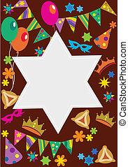 Purim background with davis star ; vector illustration