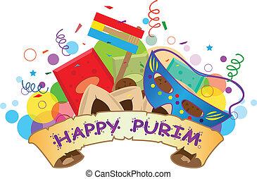 purim, banner, glücklich