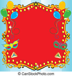 Purim Carnival Party Invitation Poster with red marquee, balloons, masks and hamentashen