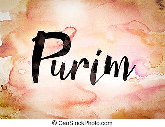 Purim Concept Watercolor Theme