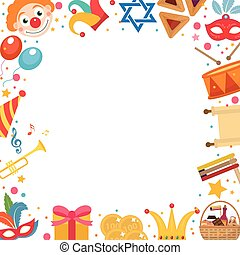Purim frame template with space for text, isolated on white background. Vector illustration clip-art.