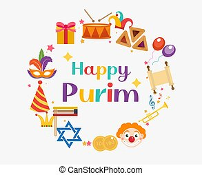Purim frame template with space for text, isolated on white background. Vector illustration clip-art