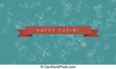 Purim holiday flat design animation background with traditional outline icon symbols and english text