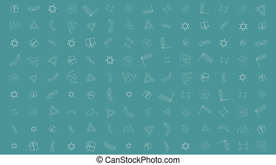 Purim holiday flat design animation background with traditional outline icon symbols