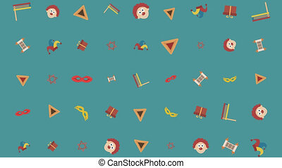 Purim holiday flat design animation background with...