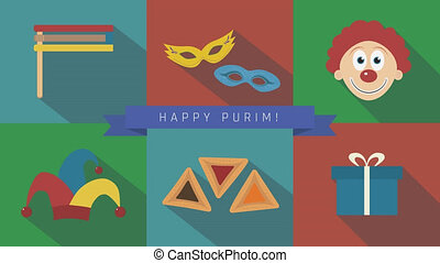 Purim holiday flat design animation icon set with traditional symbols and text in english