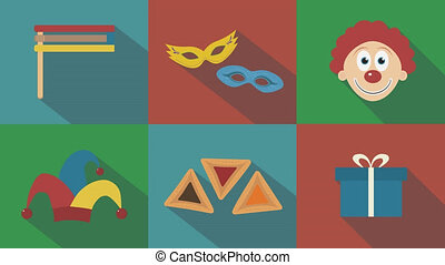 Purim holiday flat design animation icon set with traditional symbols