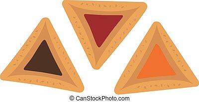 Purim holiday hamantashs flat design icon