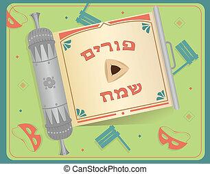 purim, rúbrica, hebreo