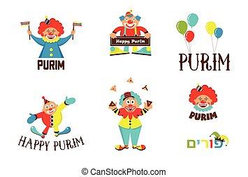 purim template design set with clowns, Jewih holiday - purim...