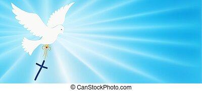 purity., abstratos, faith., luz azul, luminoso, pomba, símbolo., santissimo, cristão, fundo, evangelization, carregar, símbolo, baptism., cross., easter., rays., spirit., voando