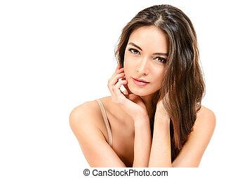 purity - Beautiful sensual woman touching her face. Beauty ...