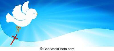 purity., faith., bandiera, luminoso, colomba, simbolo., santo, cristiano, fondo, evangelization., portante, simbolo, baptism., cross., easter., rays., spirit., cielo, carino, volare