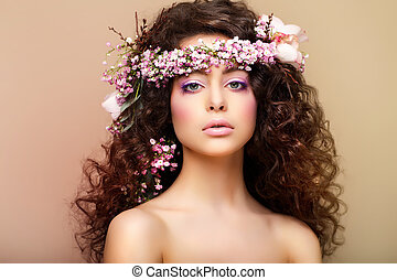 Purity. Freshness. Virginity. Attractive Charming Woman with Frizzy Hairs