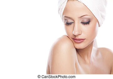 Purity - portrait of beautiful serene woman with the towel ...