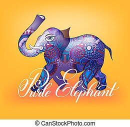 purle elephant decorative 3d vector illustration