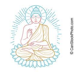 purnima, bouddha, icône