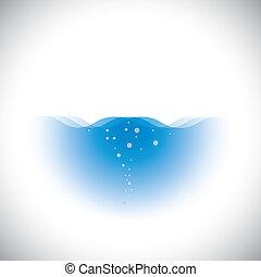 puro, limpido, acqua blu, di, oceani, &, mari, -, vettore, concetto