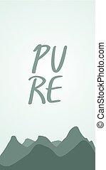 puro, naturaleza, montañas, ilustración