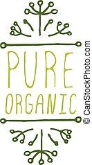 puro, organico, -, etichetta prodotto, bianco, fondo.