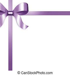 purper satijn, lint, geschenk buiging