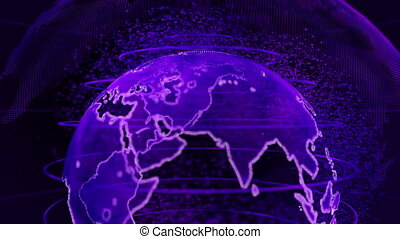 Purple 3D rendering of earth technology, business and communications background