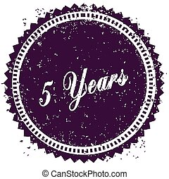 Purple 5 YEARS distressed stamp. Illustration image concept
