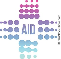 Purple abstract aid cross logo, vector medical sign.