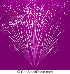 Purple abstract background with fireworks. Vector illustration.