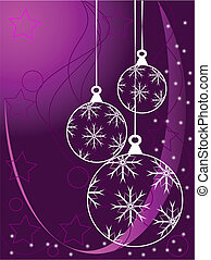 Purple Abstract Christmas Baubles Background