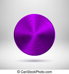 Purple Abstract Circle Button with Metal Texture