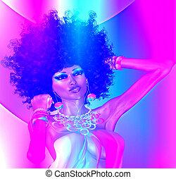 Purple Abstract digital art, retro