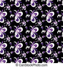 purple abstract flowers on a black background seamless pattern