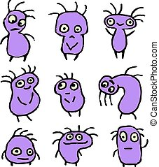 Purple Aliens Crazy Emoticons Set