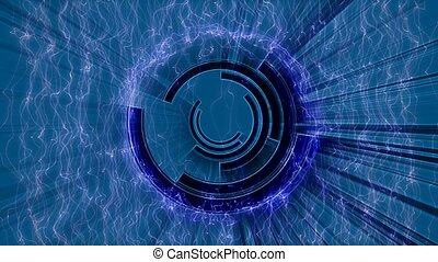 Purple and black circles in motion on blue background