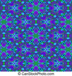 Vividly bold purple, blue and green mandala art.