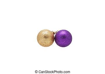 Purple and gold Christmas balls.